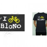"""I Bike BloNo"" 2015 T-shirt. The signature shirt design not only  acts as a statement, but reinforces the organizations name. Shirts are sold, given away as prizes, and offered as membership benefits."