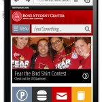 Mobile homepage mockup with student-focused calls to action.