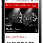 Mobile homepage mockup of Braden Auditorium section.