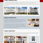 Places to Live landing page provides a breakdown of three types of campus living with explanations of eligibility. Prototype and build also by Mary Macin.