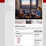 Place to live detail page. Photo gallery, room layouts and contact information reaches prospective students at different stages of the application process. Prototype and build also by Mary Macin.