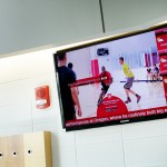 Contextual advertising – digital signage for health and wellness guide in Student Recreation Building.