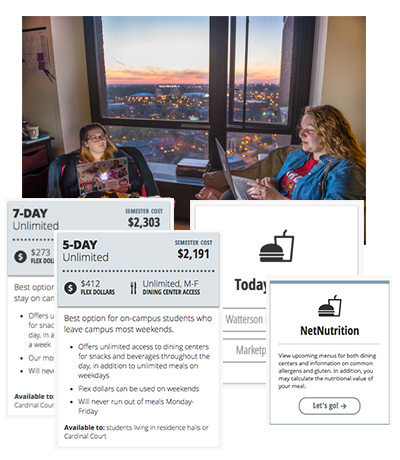 composite of housing and dining user interface and photography