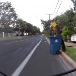 Recycling bin in a bike lane