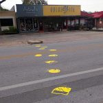 "Testing the Framework: ""Cheesewalk"" crosswalk intervention. Installed on Duval St. in Austin, TX, near Capital Metro bus stop 1262."