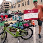 Testing the Framework: participant using Hello My Bike's Name Is… during a 2018 Park(ing) Day event in Austin, TX.