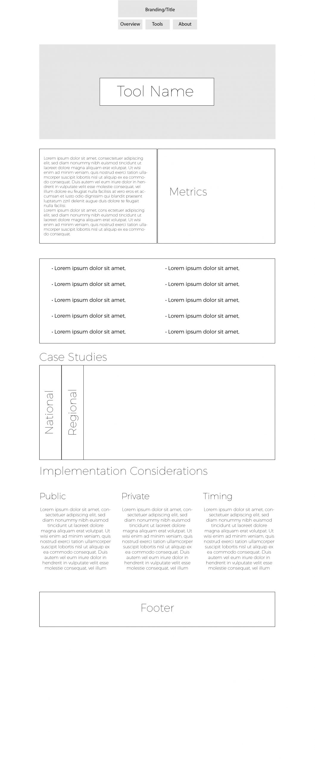 Wireframe for tool detail page